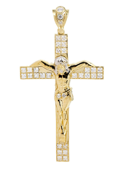 Big Gold Cross & Cz 10K Yellow Gold Pendant.  |  11.2 Grams