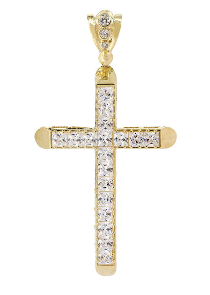 Big Gold Cross & Cz 10K Yellow Gold Pendant.  |  15.5 Grams