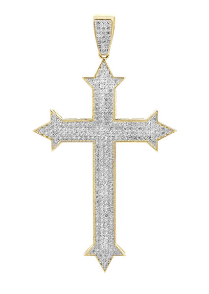 Big Gold Cross & Cz 10K Yellow Gold Pendant.  |  7.8 Grams