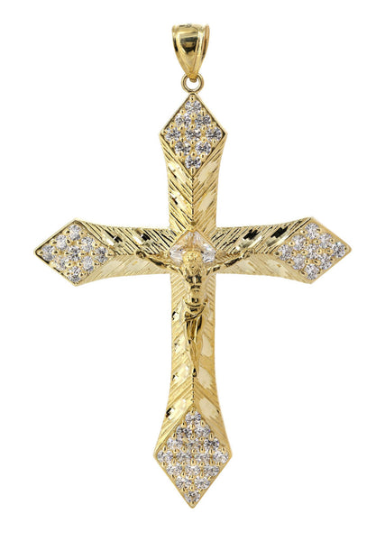 Big Gold Cross & Cz 10K Yellow Gold Pendant.  |  13 Grams