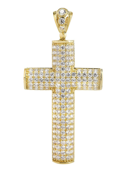 Big Gold Cross & Cz 10K Yellow Gold Pendant.  |  17.4 Grams
