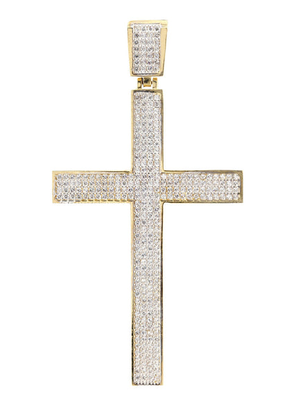 Big Gold Cross & Cz 10K Yellow Gold Pendant.  |  21 Grams