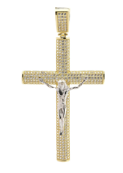 Big Gold Cross & Cz 10K Yellow Gold Pendant.  |  9.2 Grams