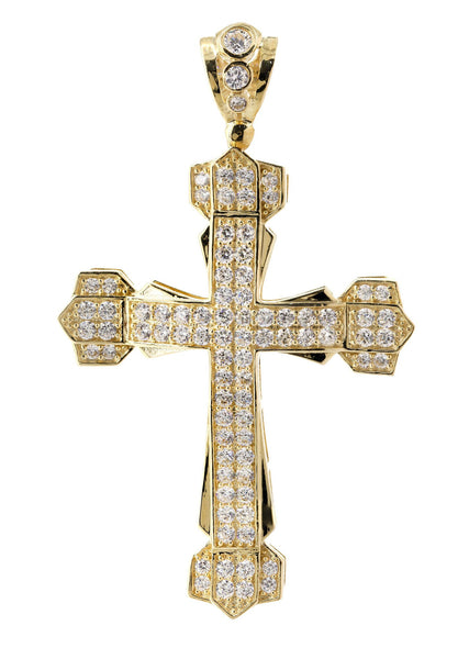 Big Gold Cross & Cz 10K Yellow Gold Pendant.  |  16.7 Grams
