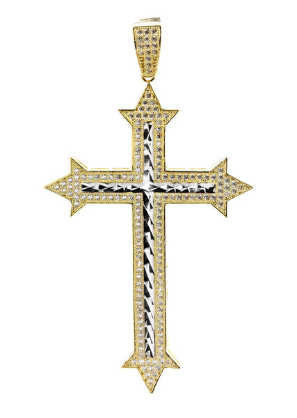 Big Gold Cross & Cz 10K Yellow Gold Pendant.  |  7.6 Grams