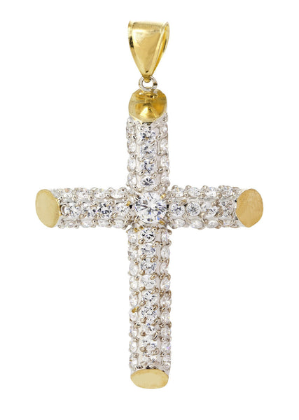 Big Gold Cross & Cz 10K Yellow Gold Pendant.  |  17.3 Grams