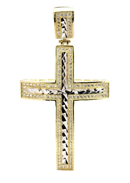 Big Gold Cross & Cz 10K Yellow Gold Pendant.  |  7.7 Grams
