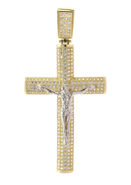 Big Gold Cross & Cz 10K Yellow Gold Pendant.  |  7.4 Grams