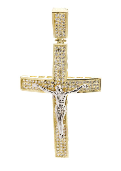 Big Gold Cross & Cz 10K Yellow Gold Pendant.  |  8 Grams