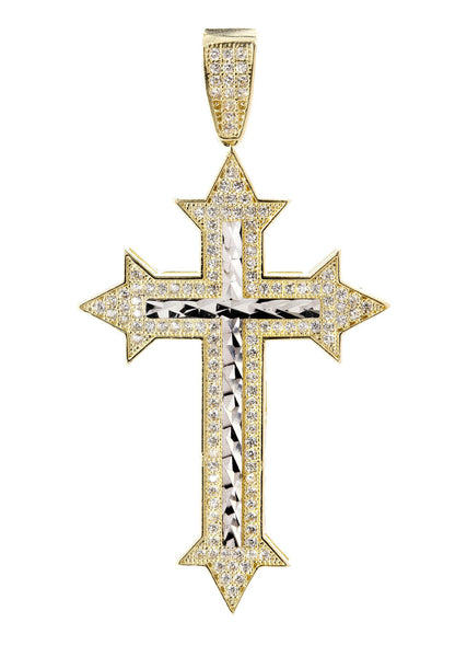 Big Gold Cross & Cz 10K Yellow Gold Pendant.  |  6.1 Grams