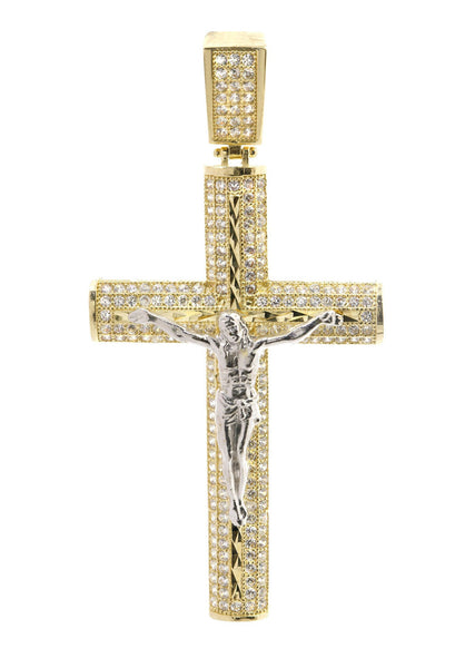 Big Gold Cross & Cz 10K Yellow Gold Pendant.  |  7.9 Grams
