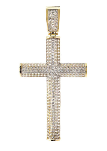 Big Gold Cross & Cz 10K Yellow Gold Pendant.  |  6.5 Grams
