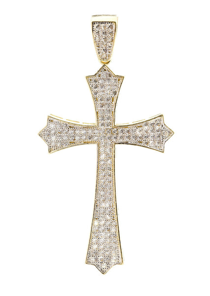 Big Gold Cross & Cz 10K Yellow Gold Pendant.  |  4.8 Grams