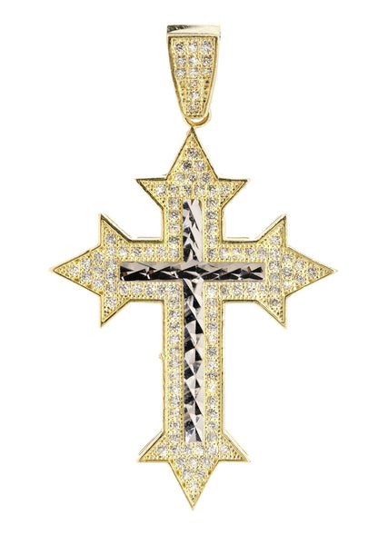 Medium Cross & Cz 10K Yellow Gold Pendant.  |  5.3 Grams