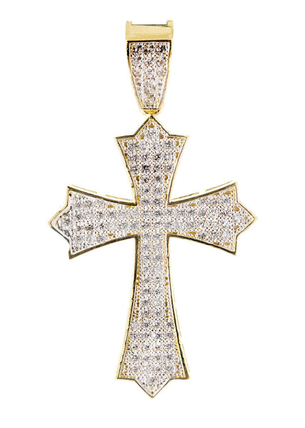 Medium Cross & Cz 10K Yellow Gold Pendant.  |  3.9 Grams