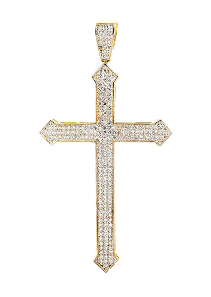 Big Gold Cross & Cz 10K Yellow Gold Pendant.  |  6.4 Grams
