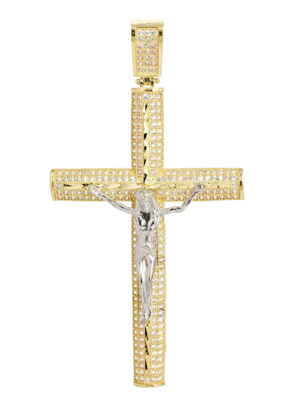 Big Gold Cross & Cz 10K Yellow Gold Pendant.  |  9.1 Grams