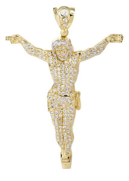 Big Jesus & Cz 10K Yellow Gold Pendant.  |  32.3 Grams