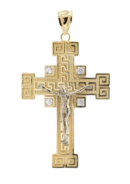 Big Gold Cross & Cz 10K Yellow Gold Pendant. | 8.8 Grams