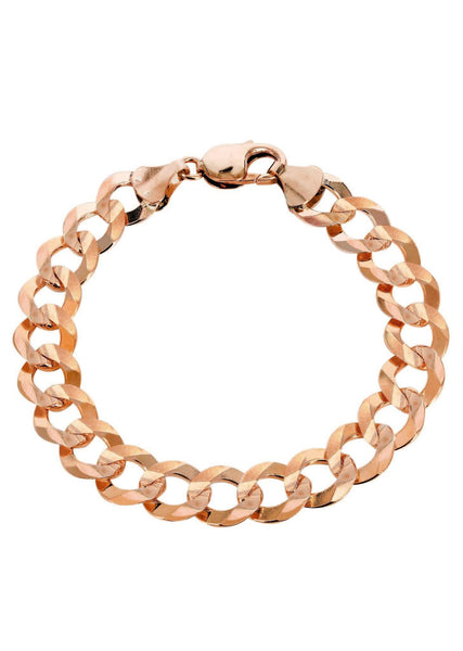 14K Rose Gold Bracelet Solid Cuban Link