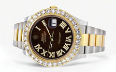 Rolex Datejust II Watch | 41 MM | 18K Yellow Gold & Stainless Steel | Custom Chocolate Roman Dial | Oyster Band