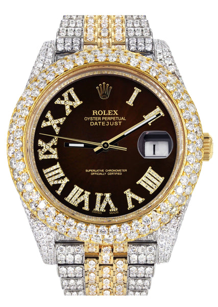 Diamond Iced Out Rolex Datejust 41 | 25 Carats Of Diamonds | Custom Dark Chocolate Roman Numeral Diamond Dial | Two Tone | Two Row | Jubilee Band