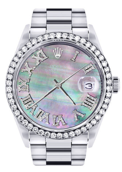 Diamond Mens Rolex Datejust Watch 16200 | 36Mm | Dark Mother Of Pearl Dial | Roman Numeral | Oyster Band