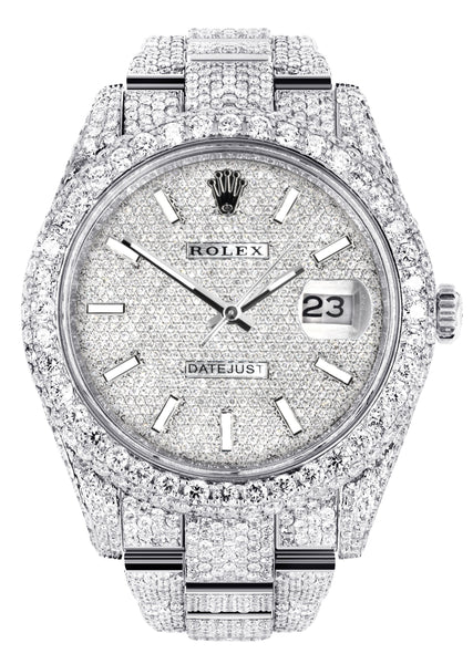Diamond Iced Out Rolex Datejust 41 | 25 Carats Of Diamonds | Custom Diamond Dial | Two Row | Oyster Band