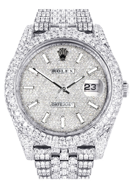 Diamond Iced Out Rolex Datejust 41 | 25 Carats Of Diamonds | Custom Diamond Dial | Two Row | Jubilee Band