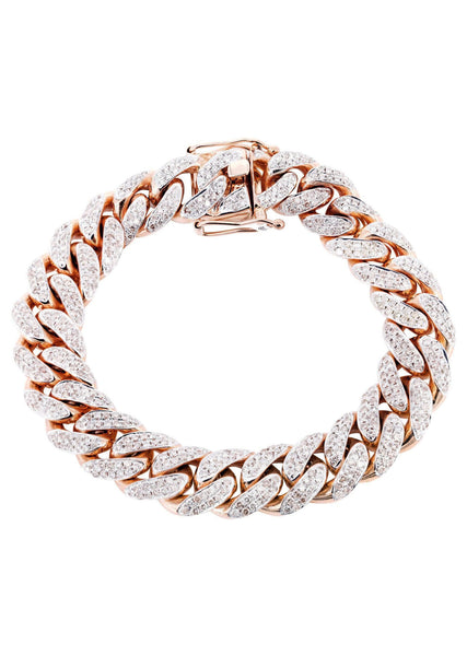 Mens Iced Out Diamond Miami Cuban Link Bracelet 14K Rose Gold