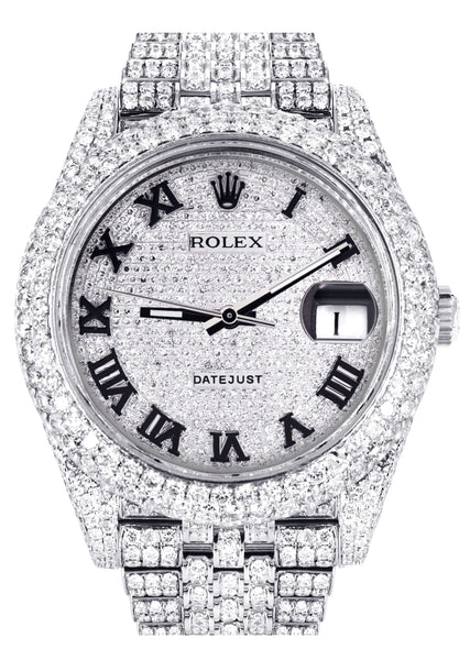 Diamond Iced Out Rolex Datejust 41 | 25 Carats Of Diamonds | Custom Roman Numeral Diamond Dial | Two Row | Jubilee Band