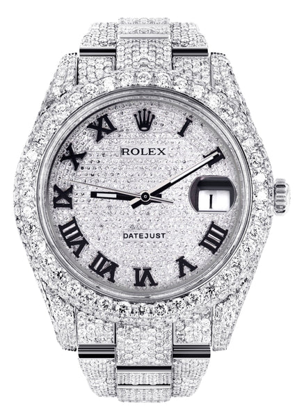Diamond Iced Out Rolex Datejust 41 | 25 Carats Of Diamonds | Custom Roman Numeral Diamond Dial | Two Row | Oyster Band