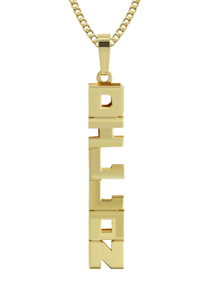 14K Ladies Vertical Text Name Plate Necklace | Appx. 5.8 Grams