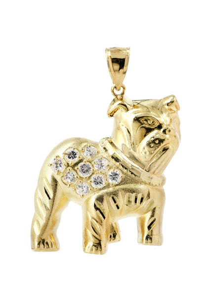 Big Dog & Cz 10K Yellow Gold Pendant. | 11 Grams