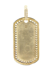 Big Dogtag & Cz 10K Yellow Gold Pendant. | 18.4 Grams