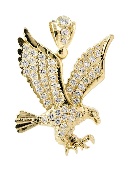 Big Eagle & Cz 10K Yellow Gold Pendant. | 10.7 Grams