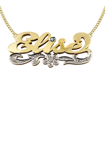14K Ladies Two Tone Diamond Cut Name Plate Necklace | Appx. 11.4 Grams
