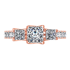 Three Stone Diamond EngagementRing Enchantment Lattice  14K Rose Gold