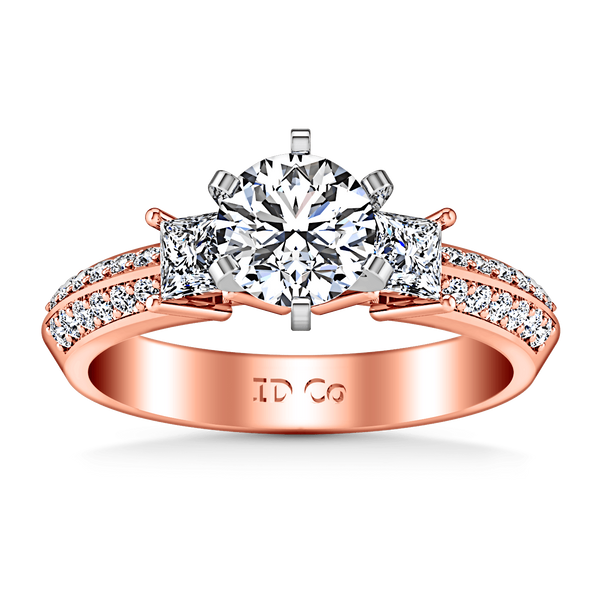 Three Stone Diamond EngagementRing Ivana 14K Rose Gold
