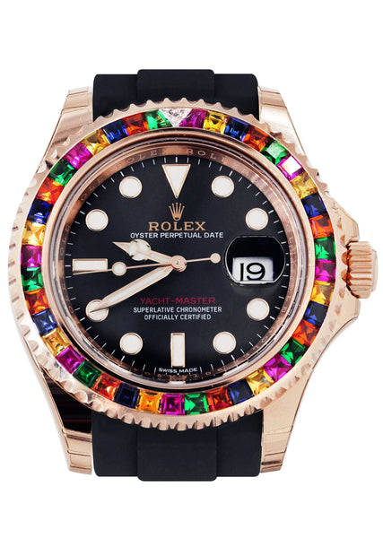 Rolex Yacht Master | 18K Rose Gold | Rubber Strap | Custom Sapphire & Diamond Bezel | 40 MM