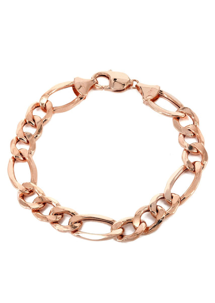 14K Rose Gold Bracelet Solid Figaro