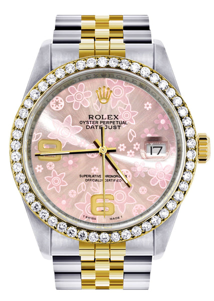 Gold Rolex Datejust Watch 16233 Two Tone for Men | 36Mm | Pink Flower Dial | Jubilee Band
