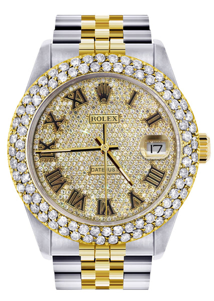 Diamond Gold Rolex Watch For Men 16233 | 36Mm | Diamond Gold Roman Numeral Dial | Two Row 4.25 Carat Bezel | Jubilee Band