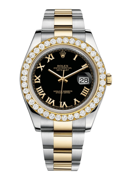 Rolex Datejust Ii Black Dial - Gold Roman Numerals With 5 Carats Of Diamonds