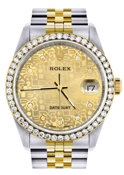 Gold Rolex Datejust Watch 16233 Two Tone for Men | 36Mm | Gold Texture Dial | Jubilee Band
