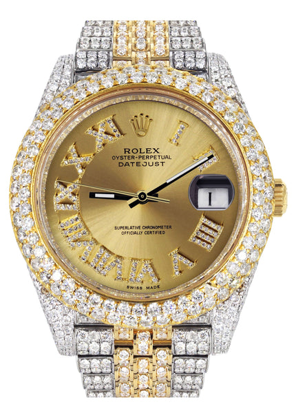 Diamond Iced Out Rolex Datejust 41 | 25 Carats Of Diamonds | Custom Gold Roman Numeral Diamond Dial | Two Tone | Two Row | Jubilee Band