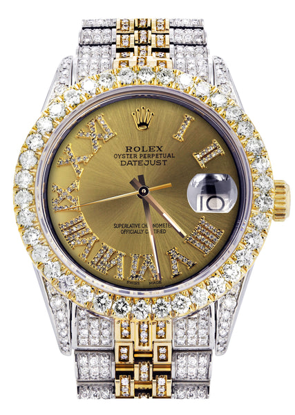 Iced Out Rolex Datejust 36 MM | Two Tone | 10 Carats of Diamonds | Gold Roman Diamond Dial