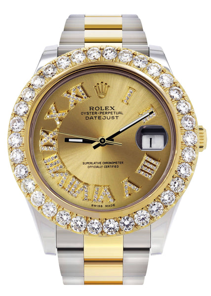 Rolex Datejust II Watch | 41 MM | 18K Yellow Gold & Stainless Steel | Custom Gold Roman Dial | Oyster Band