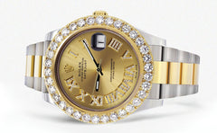 Rolex Datejust II Watch | 41 MM | 18K Yellow Gold & Stainless Steel | Custom Gold Roman Dial | Oyster Band CUSTOM ROLEX FrostNYC