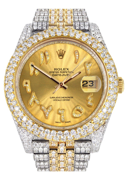 Diamond Iced Out Rolex Datejust 41 | 25 Carats Of Diamonds | Custom Gold Arabic Numeral Diamond Dial | Two Tone | Two Row | Jubilee Band